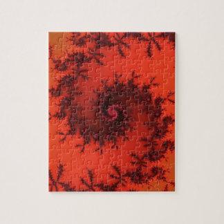 Scarlet and black spiral fractal. jigsaw puzzle