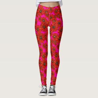 Scarlet and hot pink poppy floral printed leggings