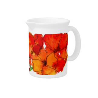 Scarlet and Orange Watercolour Wallflowers Pitcher