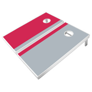 Scarlet and Silver Add Your Logo Cornhole Set