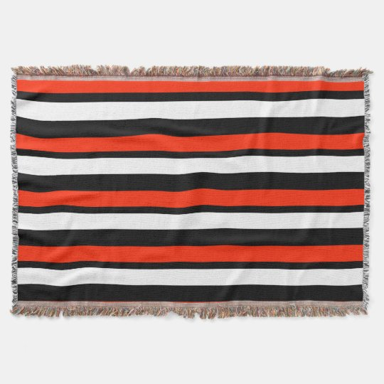 Scarlet Black and White Striped Throw Blanket