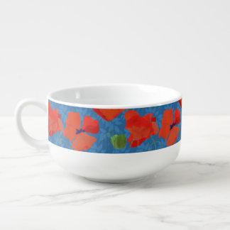 Scarlet Field Poppies on Blue Soup Mug