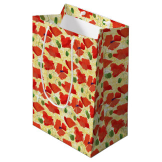 Scarlet Field Poppies on Golden Corn Background Medium Gift Bag