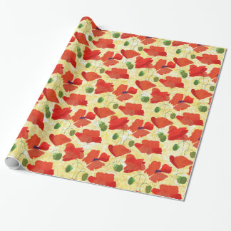 Scarlet Field Poppies on Golden Corn Background Wrapping Paper