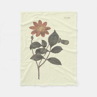 Scarlet Flowered Dahlia Botanical Illustration Fleece Blanket