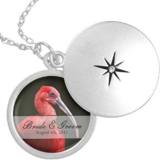 Scarlet Ibis Wedding Round Locket Necklace