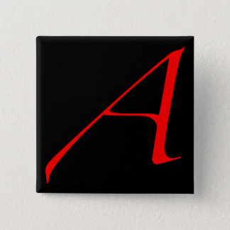 Scarlet letter A (for Atheist) 15 Cm Square Badge