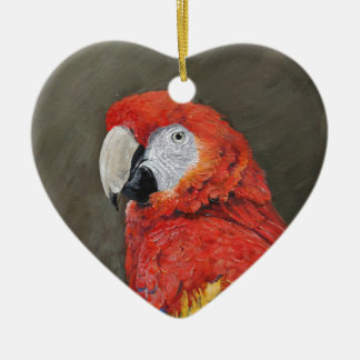 Scarlet Macaw created for you Ceramic Heart Decoration