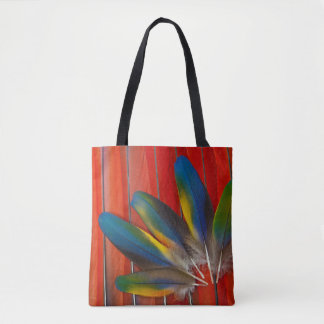 Scarlet Macaw Feather Design Tote Bag