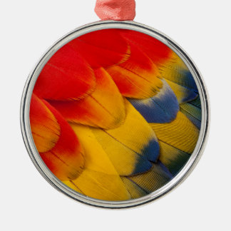 Scarlet Macaw feathers close-up Silver-Colored Round Decoration