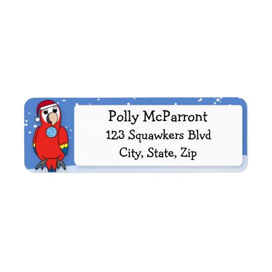 Scarlet Macaw Happy Holidays Christmas Return Address Label
