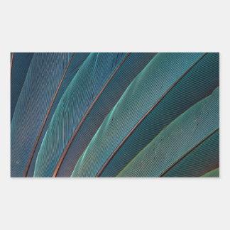 Scarlet macaw parrot feather rectangular sticker