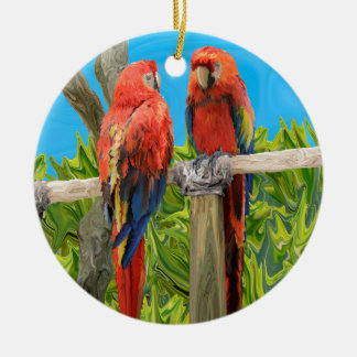 Scarlet Macaw Parrots Perching Christmas Ornament
