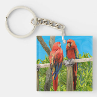 Scarlet Macaw Parrots Perching Double-Sided Square Acrylic Key Ring