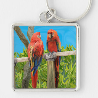 Scarlet Macaw Parrots Perching Silver-Colored Square Key Ring