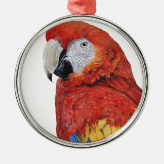 Scarlet Macaw portrait design Silver-Colored Round Decoration