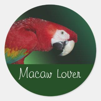 Scarlet Macaw Classic Round Sticker