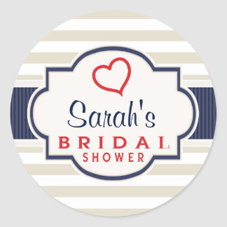 Scarlet, Navy, Eggshell Stripes Bridal Shower Classic Round Sticker