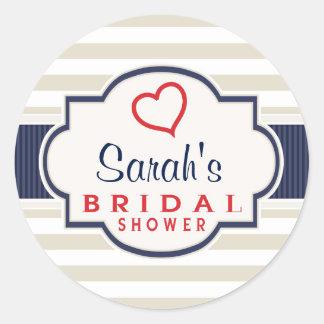 Scarlet, Navy, Eggshell Stripes Bridal Shower Round Sticker