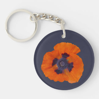 Scarlet Orange Poppy 1 Key Ring
