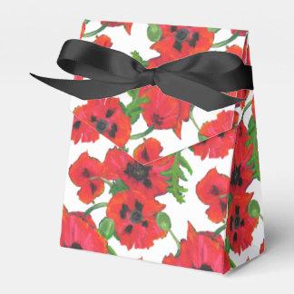 Scarlet Oriental Poppies Pattern on White Party Favour Box