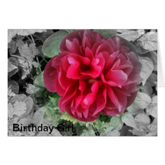 Scarlet Peony birthday card for someone special.