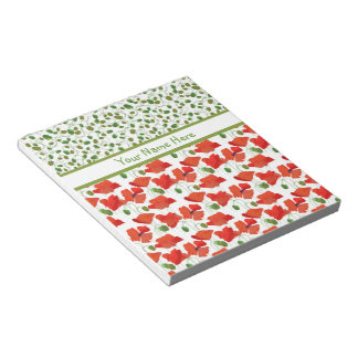 Scarlet Poppies and Buds Notepad or Jotter