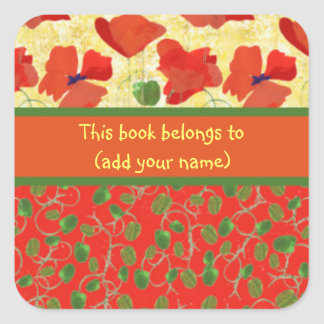 Scarlet Poppies and Buds: Sheet of 20 Bookplates Square Sticker