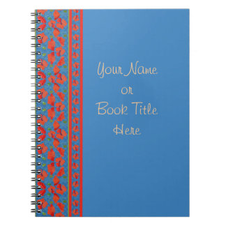 Scarlet Poppies Border on Blue Background Notebook