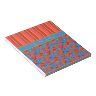 Scarlet Poppies on Blue, Red, Green Stripes Notepad