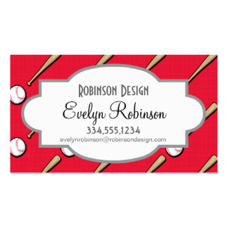 Scarlet Red and White Baseball Pattern Pack Of Standard Business Cards