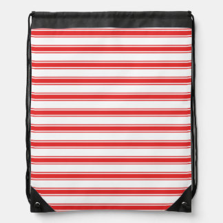 Scarlet Red and White Stripes; Striped Drawstring Bag