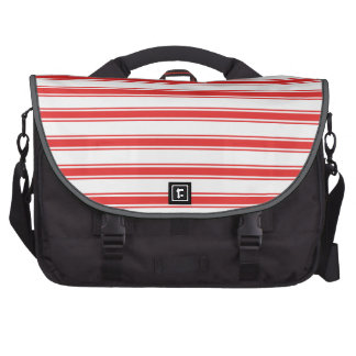 Scarlet Red and White Stripes Striped Commuter Bag