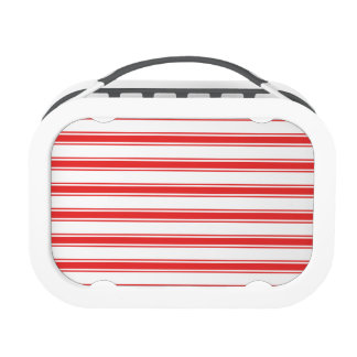 Scarlet Red and White Stripes Striped Yubo Lunch Box