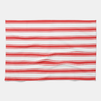 Scarlet Red and White Stripes; Striped Hand Towels
