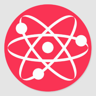 Scarlet Red; Atom Classic Round Sticker