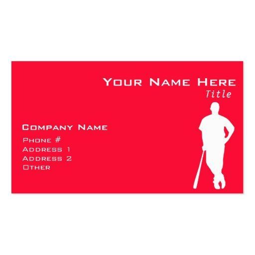 Scarlet Red Baseball; Softball Business Cards