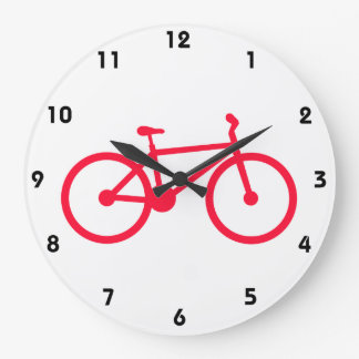 Scarlet Red Bicycle Large Clock