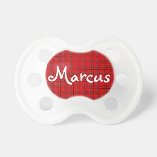Scarlet Red, Gray, Black Plaid Baby Pacifier