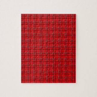 Scarlet Red, Gray, Black Plaid Puzzles