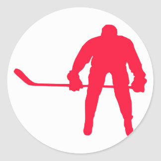 Scarlet Red Hockey Classic Round Sticker