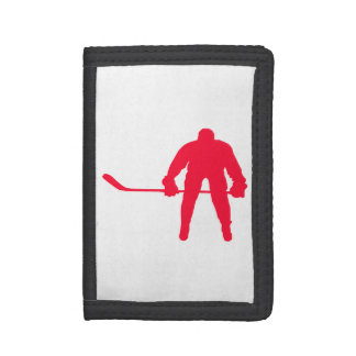 Scarlet Red Hockey Trifold Wallets