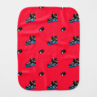 Scarlet Red Ice Hockey Pattern Baby Burp Cloth