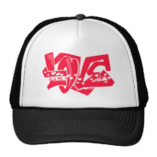 Scarlet Red Love Graffiti Hats