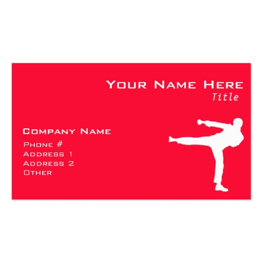 Scarlet Red Martial Arts Business Card Templates