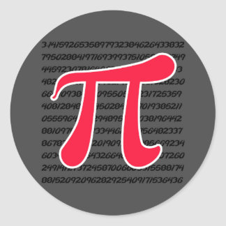 Scarlet Red Pi Symbol Classic Round Sticker
