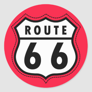 Scarlet Red Route 66 road sign Stickers