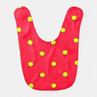 Scarlet Red Tennis Ball Pattern Bibs