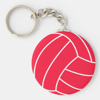 Scarlet Red Volleyball Basic Round Button Key Ring
