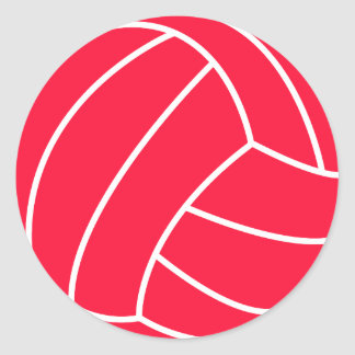 Scarlet Red Volleyball Classic Round Sticker